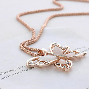 "Rose Gold ""Butterfly Crystal"" Pendant Necklace - Blown Biker - 3"
