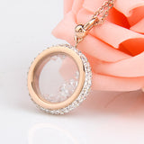 "Rose Gold ""Crystal Round"" Pendant Necklace - Blown Biker - 2"