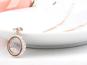 "Rose Gold ""Crystal Round"" Pendant Necklace - Blown Biker - 3"