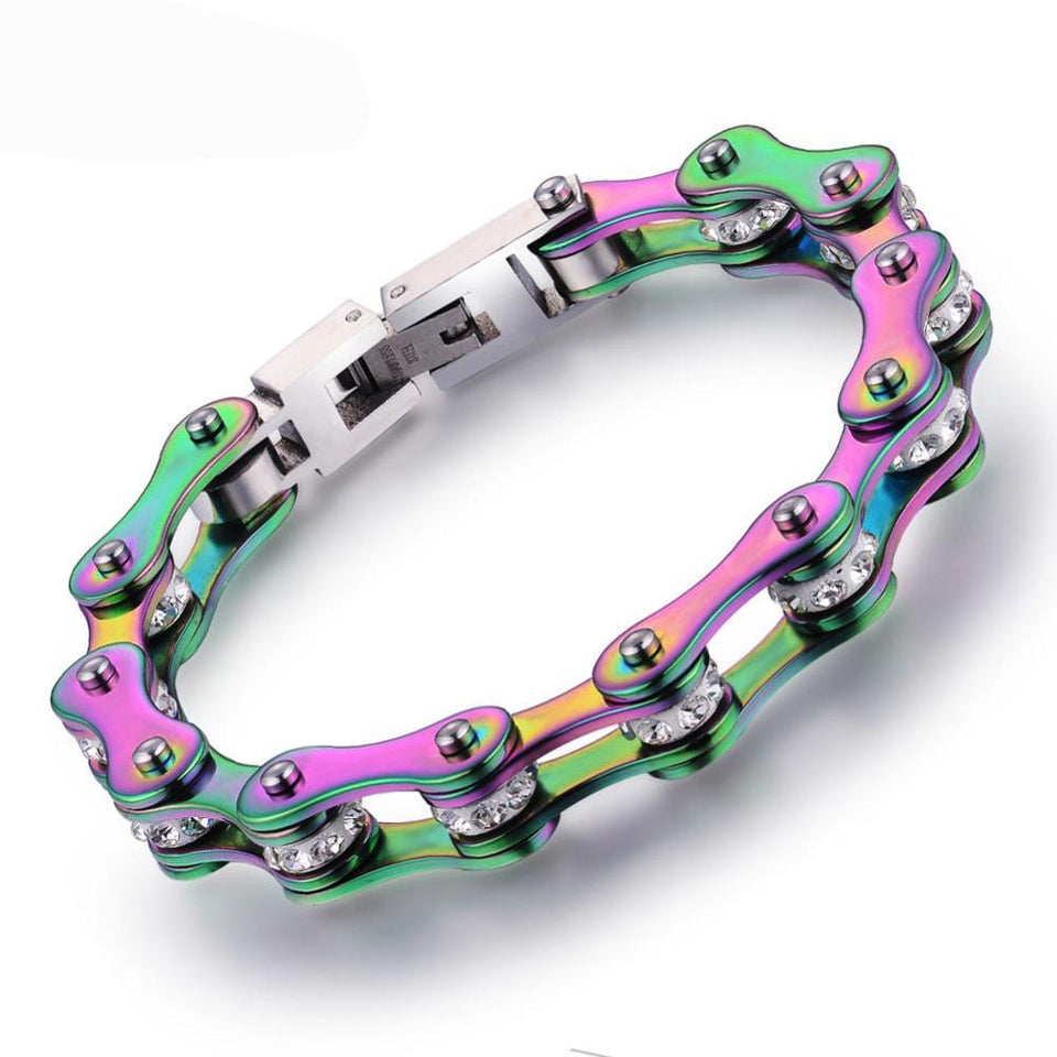 "316L Stainless Steel Rainbow ""Crystal Biker"" Bracelet - Blown Biker - 1"