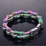 "316L Stainless Steel Rainbow ""Crystal Biker"" Bracelet - Blown Biker - 3"