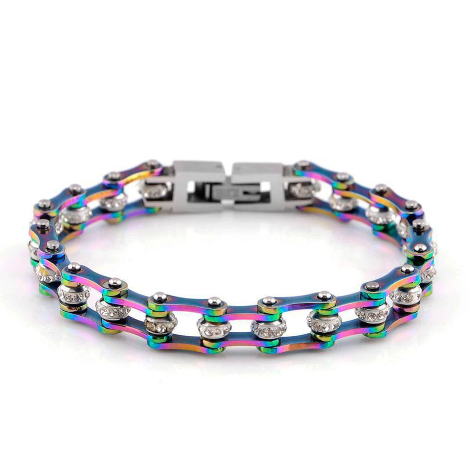 "316L Stainless Steel Rainbow ""Crystal Biker"" Bracelet - Blown Biker - 4"