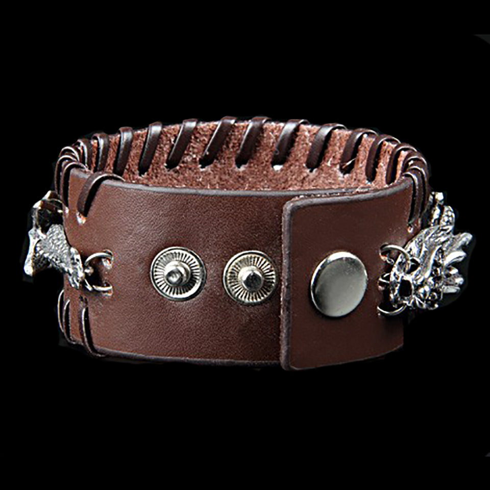 "Leather & 316L Stainless Steel ""Metal Dragon"" Bracelet"