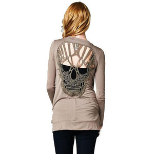 """Hollow Skull"" Womens Knitted Cardigan"