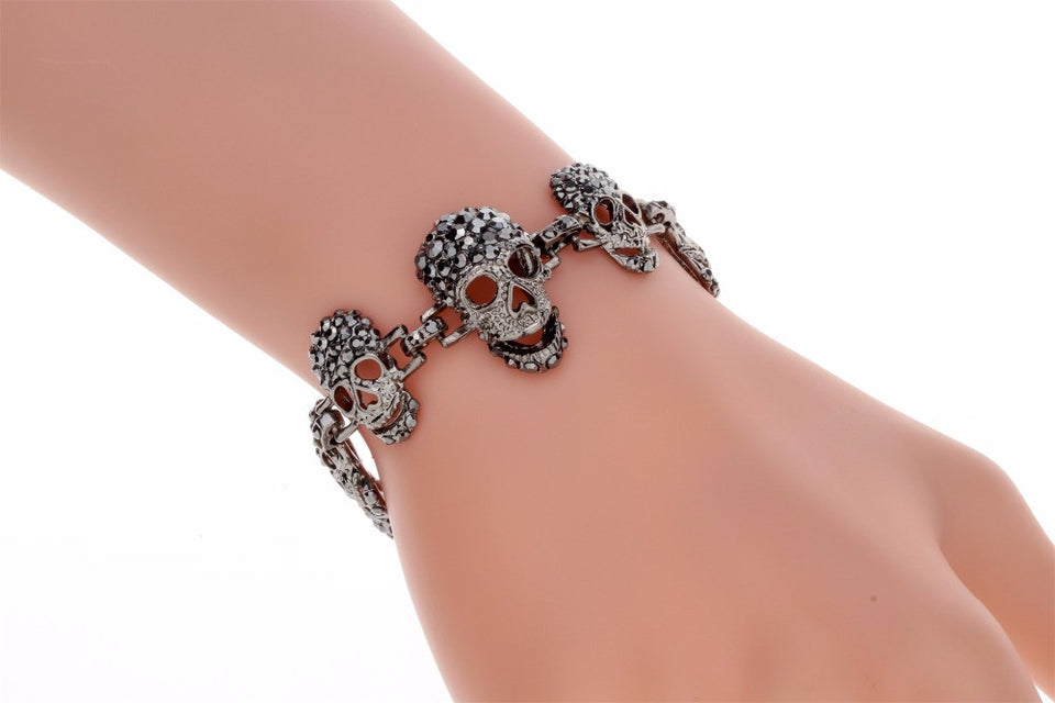 "Gun Metal ""Skulls For Her"" Womens Bracelet - Blown Biker - 6"