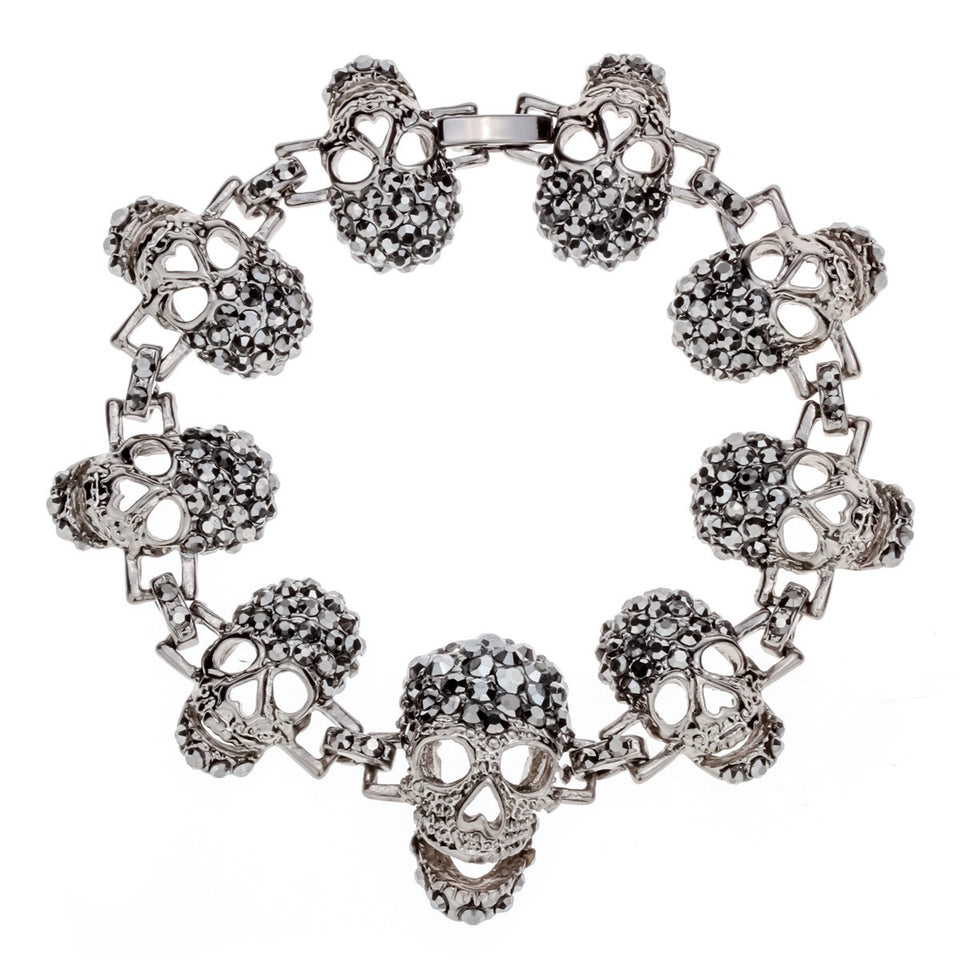 "Gun Metal ""Skulls For Her"" Womens Bracelet - Blown Biker - 1"