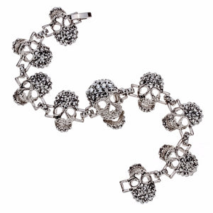"Gun Metal ""Skulls For Her"" Womens Bracelet - Blown Biker - 4"