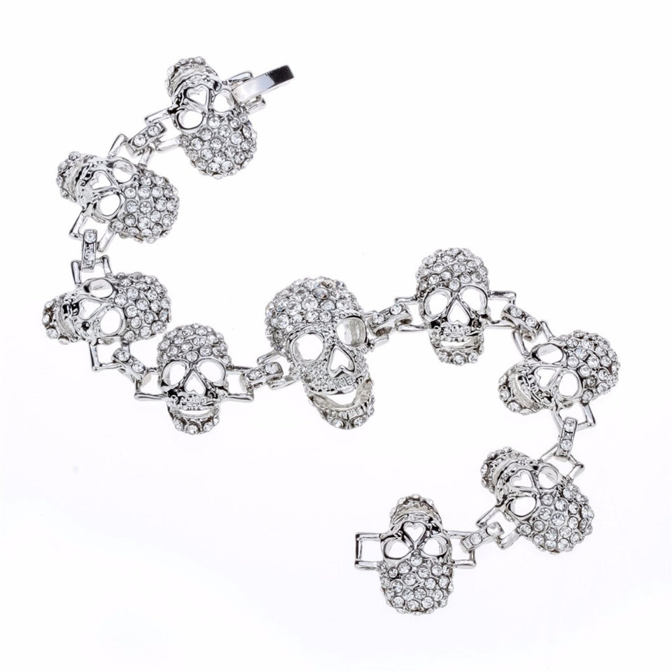 "Gun Metal ""Skulls For Her"" Womens Bracelet - Blown Biker - 3"