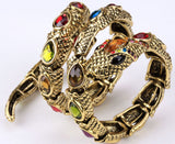 "Antique Gold / Silver ""Stretch Snake"" Bracelet / Upper Arm Cuff - Blown Biker - 14"