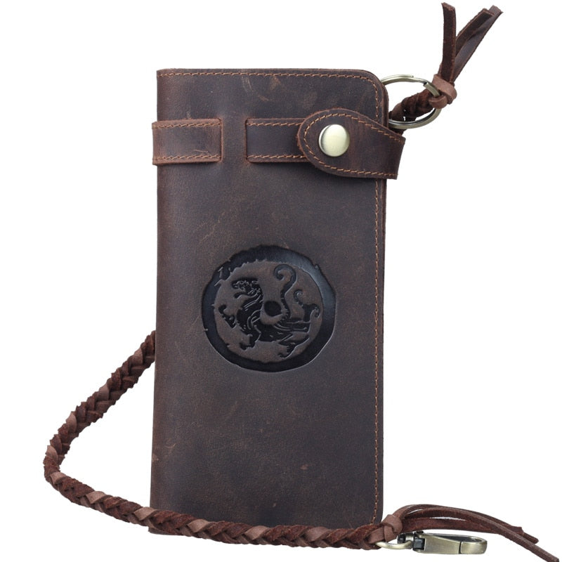 "Vintage Leather ""Dancing Dragon"" Bifold Chain Wallet"