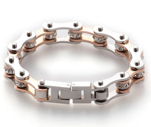"Rose Gold ""Crystals"" Biker Bracelet - Blown Biker - 1"