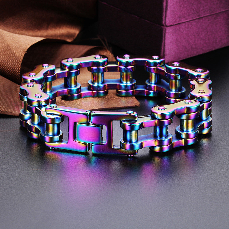 "316L Stainless Steel ""Rainbow"" Bracelet - Blown Biker - 3"