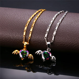 18K Gold/Silver Plated Angel Wings Crystal Necklace