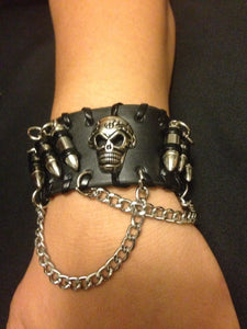 "Leather ""Skull And Bullets"" Bracelet - Blown Biker - 6"