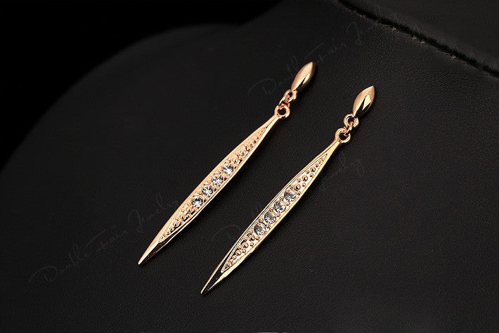 "Vintage Rose Gold ""Zirconia Stud"" Drop Earrings - Blown Biker - 4"