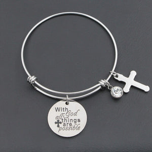 "Adjustable ""With God All Things Are Possible"" Charm Bracelet - Blown Biker - 1"