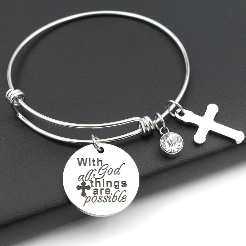 "Adjustable ""With God All Things Are Possible"" Charm Bracelet - Blown Biker - 3"