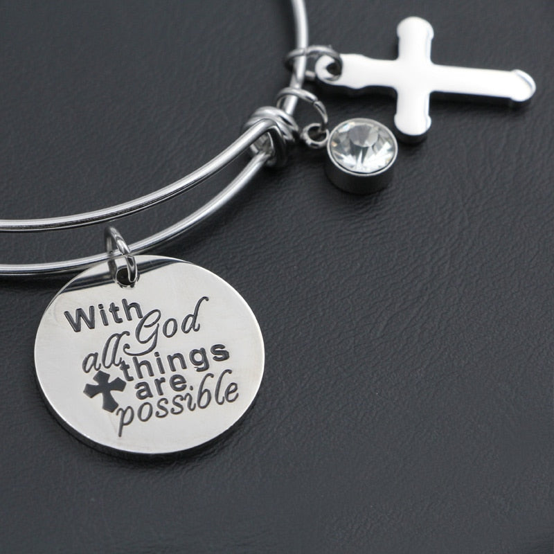 "Adjustable ""With God All Things Are Possible"" Charm Bracelet - Blown Biker - 2"