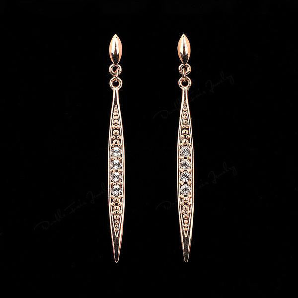 "Vintage Rose Gold ""Zirconia Stud"" Drop Earrings - Blown Biker - 2"