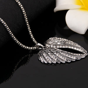 "Rhinestone Covered ""Angel Wings"" Pendant Necklace - Blown Biker - 5"