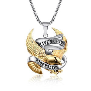 "316L Stainless Steel ""Live To Ride"" Pendant Necklace"