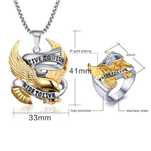 "316L Stainless Steel ""Live To Ride"" Jewelry Set - Blown Biker - 5"