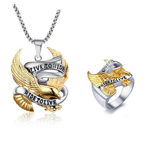 "316L Stainless Steel ""Live To Ride"" Jewelry Set - Blown Biker - 1"