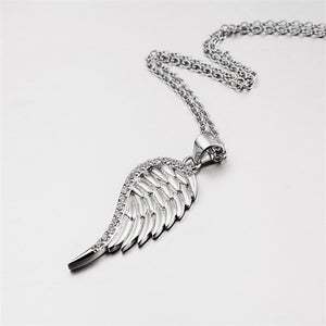 925 Sterling Silver Angel Wings Pendant Necklace - Blown Biker - 1