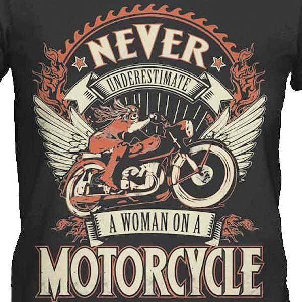Woman On A Motorcycle T-Shirt - Blown Biker - 1