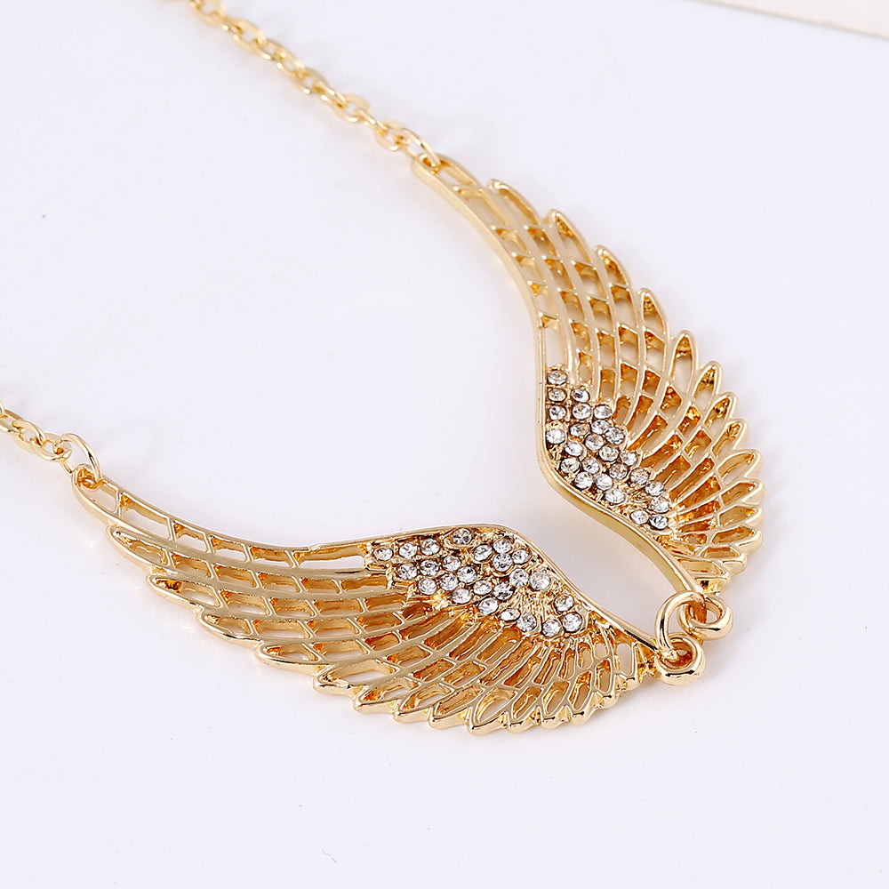 GoldSilver Plated Angel Wings Choker Rhinestone Necklace Blown