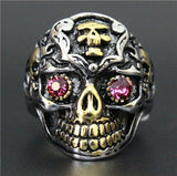 "316L Stainless Steel ""Skull Stone Eyes"" Ring"