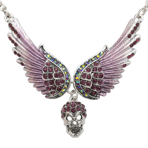 "Antique Silver Plated ""Winged Skull"" Pendant Necklace - Blown Biker - 1"