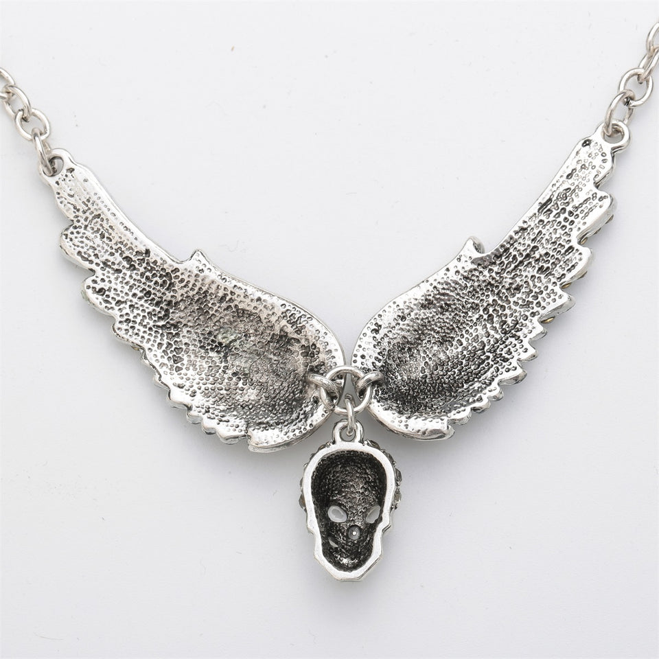 "Antique Silver Plated ""Winged Skull"" Pendant Necklace - Blown Biker - 6"