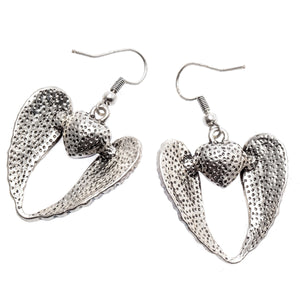 "Angel Wings ""Dangle Heart"" Earrings - Blown Biker - 9"
