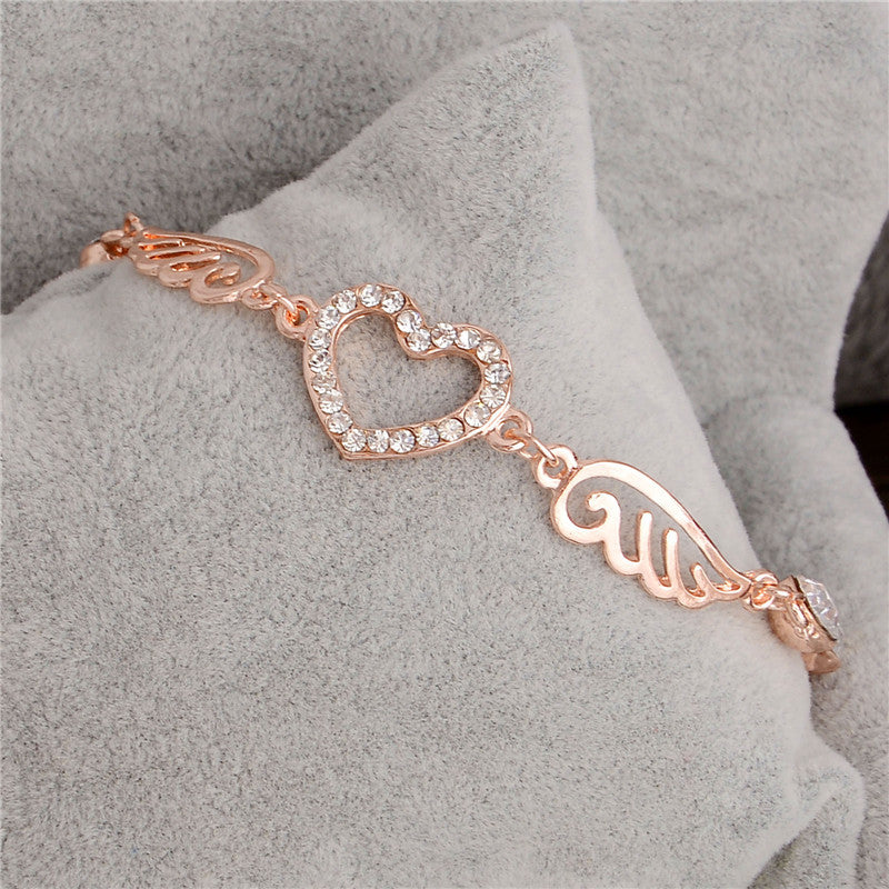 "Rose Gold ""Angel Wings"" Women's Charm Bracelet - Blown Biker - 3"