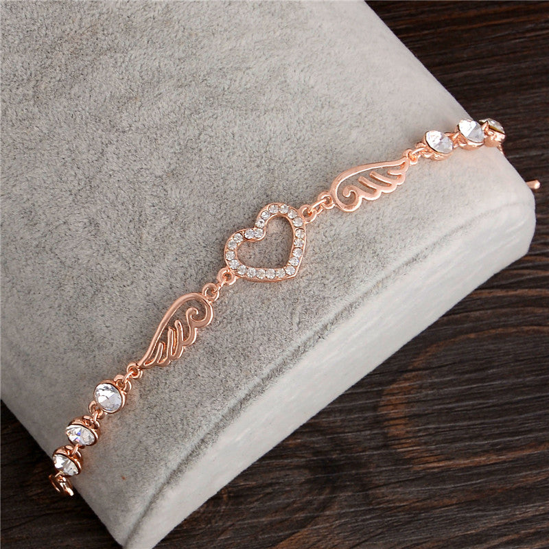 "Rose Gold ""Angel Wings"" Women's Charm Bracelet - Blown Biker - 1"