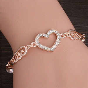 "Rose Gold ""Angel Wings"" Women's Charm Bracelet - Blown Biker - 4"