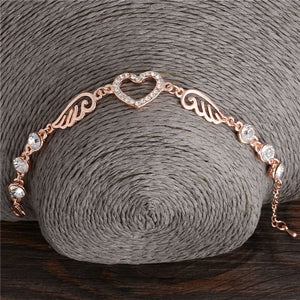 "Rose Gold ""Angel Wings"" Women's Charm Bracelet - Blown Biker - 2"
