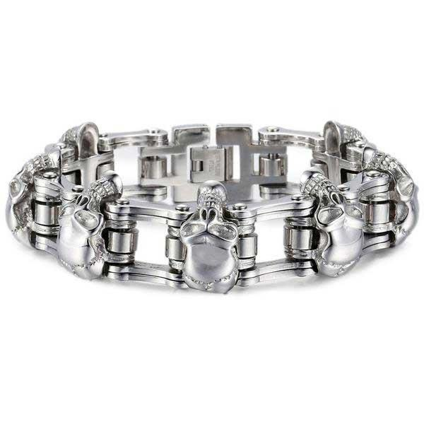 "316L Stainless Steel ""Luxury Skulls"" Bracelet - Blown Biker - 5"