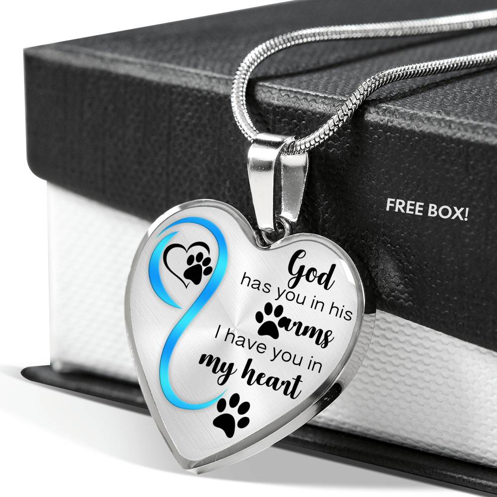 Customizable Pawprint 'God Has You In His Arms' Luxury Necklace