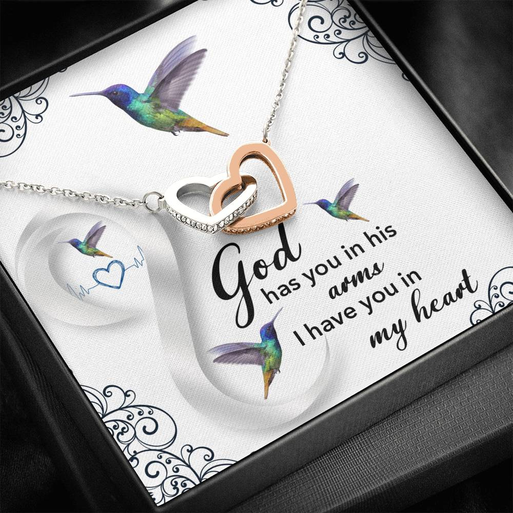 """God Has You In His Arms"" Joined Hearts Pendant Necklace Gift Set"