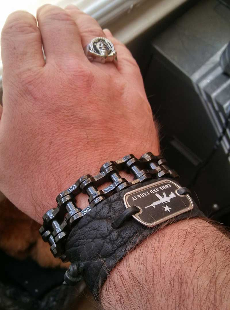 "316L Stainless Steel ""Big Black"" Biker Bracelet"
