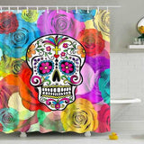 "Printed ""Skulls"" Full Length Shower Curtain - Blown Biker - 6"