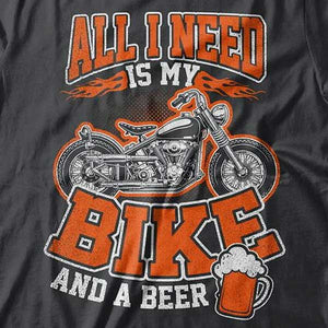 Bike And A Beer T-Shirt (Front Print) - Blown Biker - 1