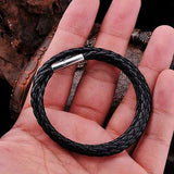 "316L Stainless Steel ""Black Rope"" Leather Necklace - Blown Biker - 1"