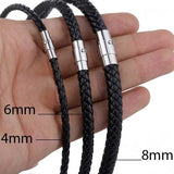 "316L Stainless Steel ""Black Rope"" Leather Necklace - Blown Biker - 2"