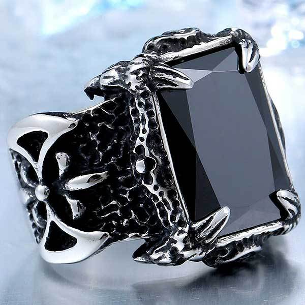 "316L Stainless Steel ""Classic Stone"" Ring - Blown Biker - 4"