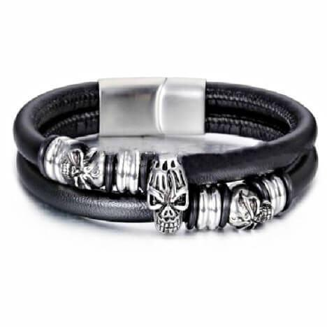 "316L Stainless Steel ""Leather Skull"" Bracelet - Blown Biker - 4"