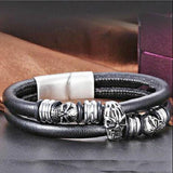 "316L Stainless Steel ""Leather Skull"" Bracelet - Blown Biker - 1"
