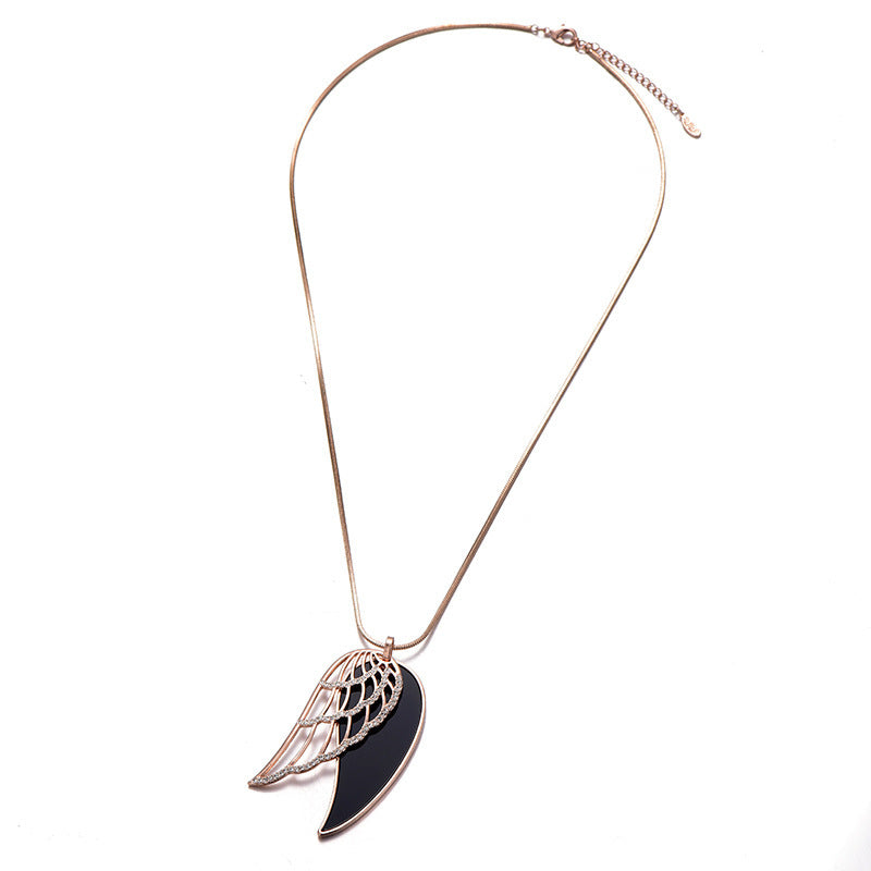 18k Rose Gold Plated Black Polish Angel Wings Pendant Necklace